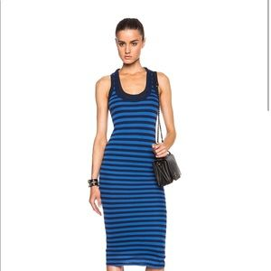 Double Layer Stripe Fitted Jersey Tank Dress